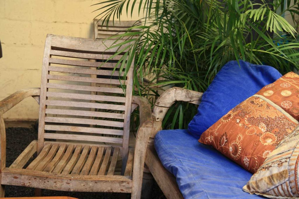 comfortable seating in the courtyard